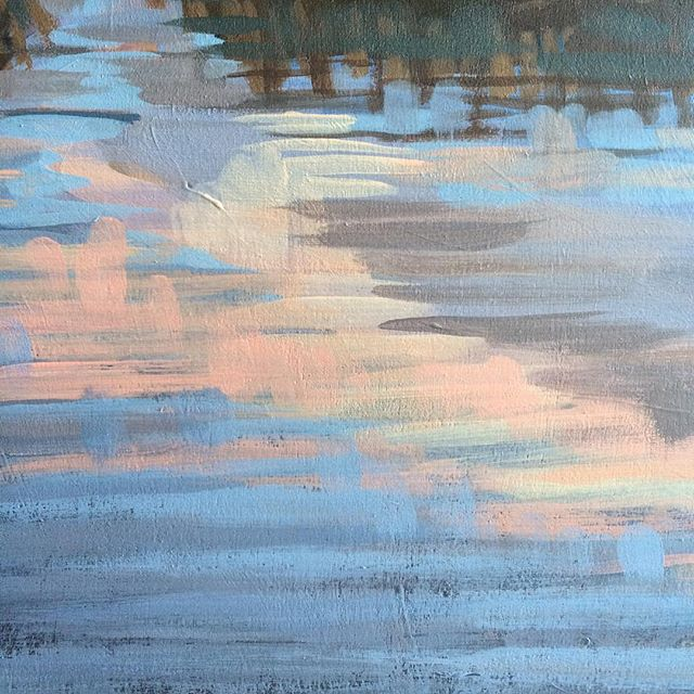 """After a majorly distracted day of """"messing up"""" the water, I went back the next day and nailed it! Proof that patience, persistence, and focus really matter - and also that artists don't lose their abilities overnight. 👊 Cloud reflection detail from my latest wip. #doitfortheprocess"""