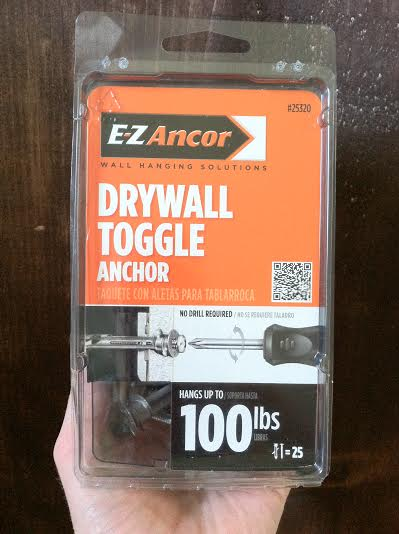 These drywall toggle anchors are not jokin' around and are what you want to use when hanging anything substantial into drywall.