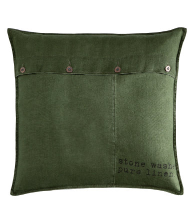Dark Green Linen Cushion Cover - $17.95