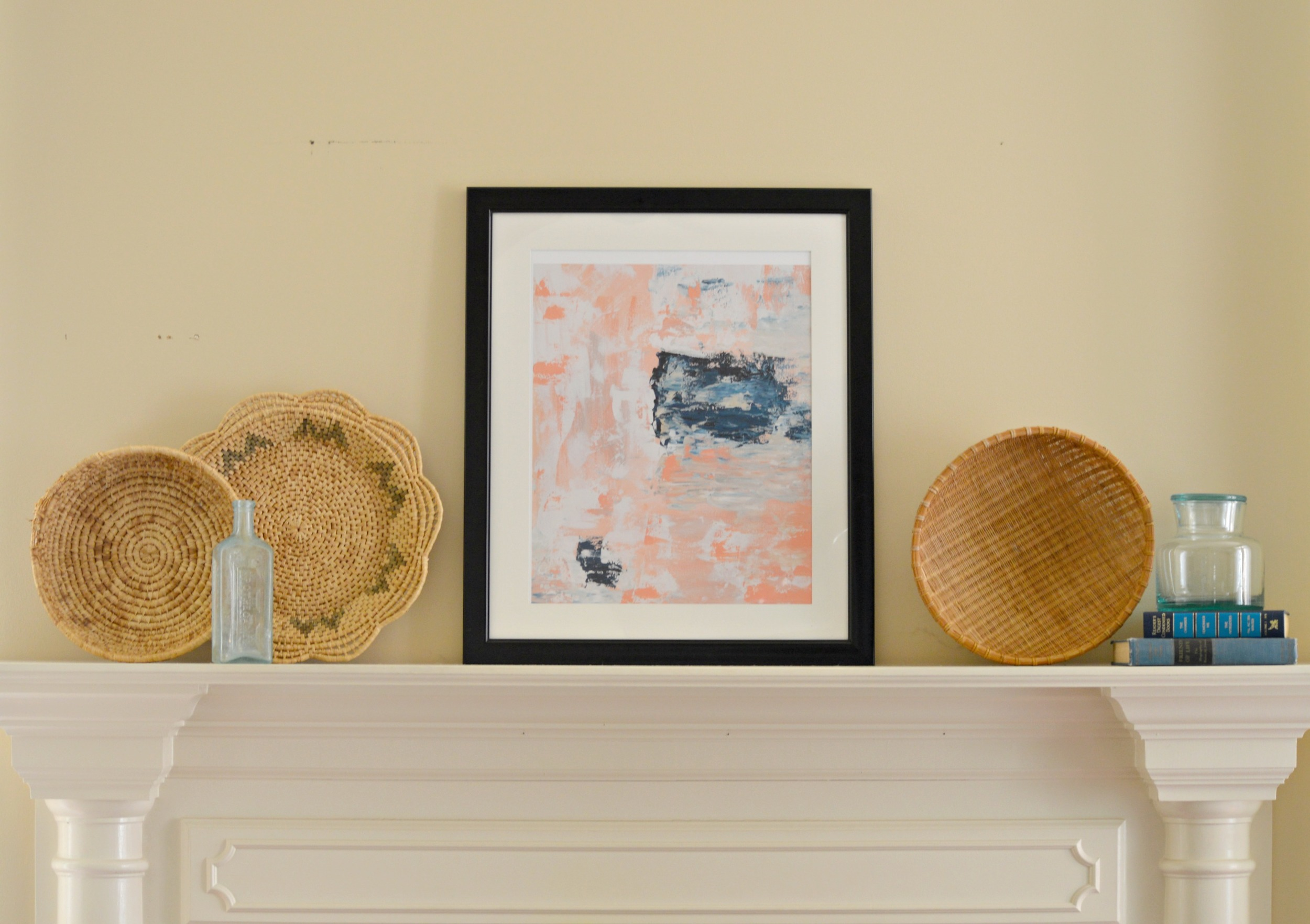 Baskets, Books, and Blue Glass,  Harper and Arrow Market   Abstract Art, (this piece is a smaller version of one this artistis custom painting for this space insimilar colors),  Christie Adelle