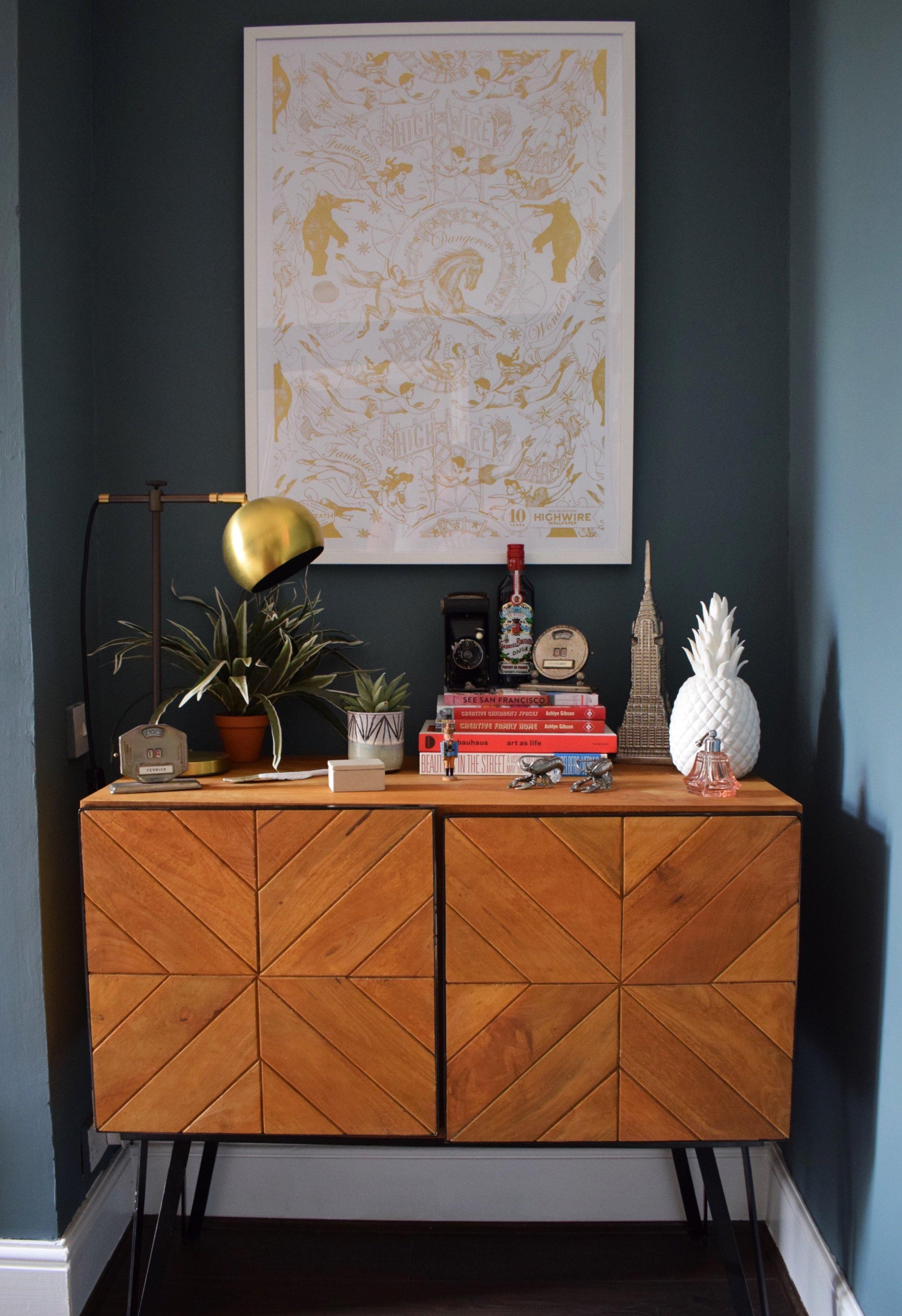Eclectic Modern Bohemian interior decor chevron sideboard styling.JPG