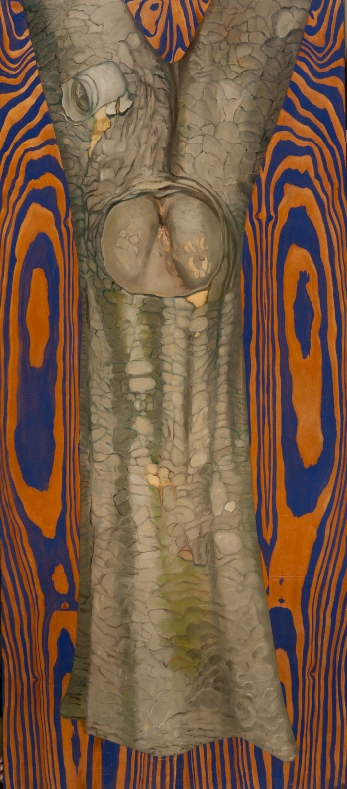 """King of the Forest. 1991. Oil on wood. 82"""" x 36""""."""