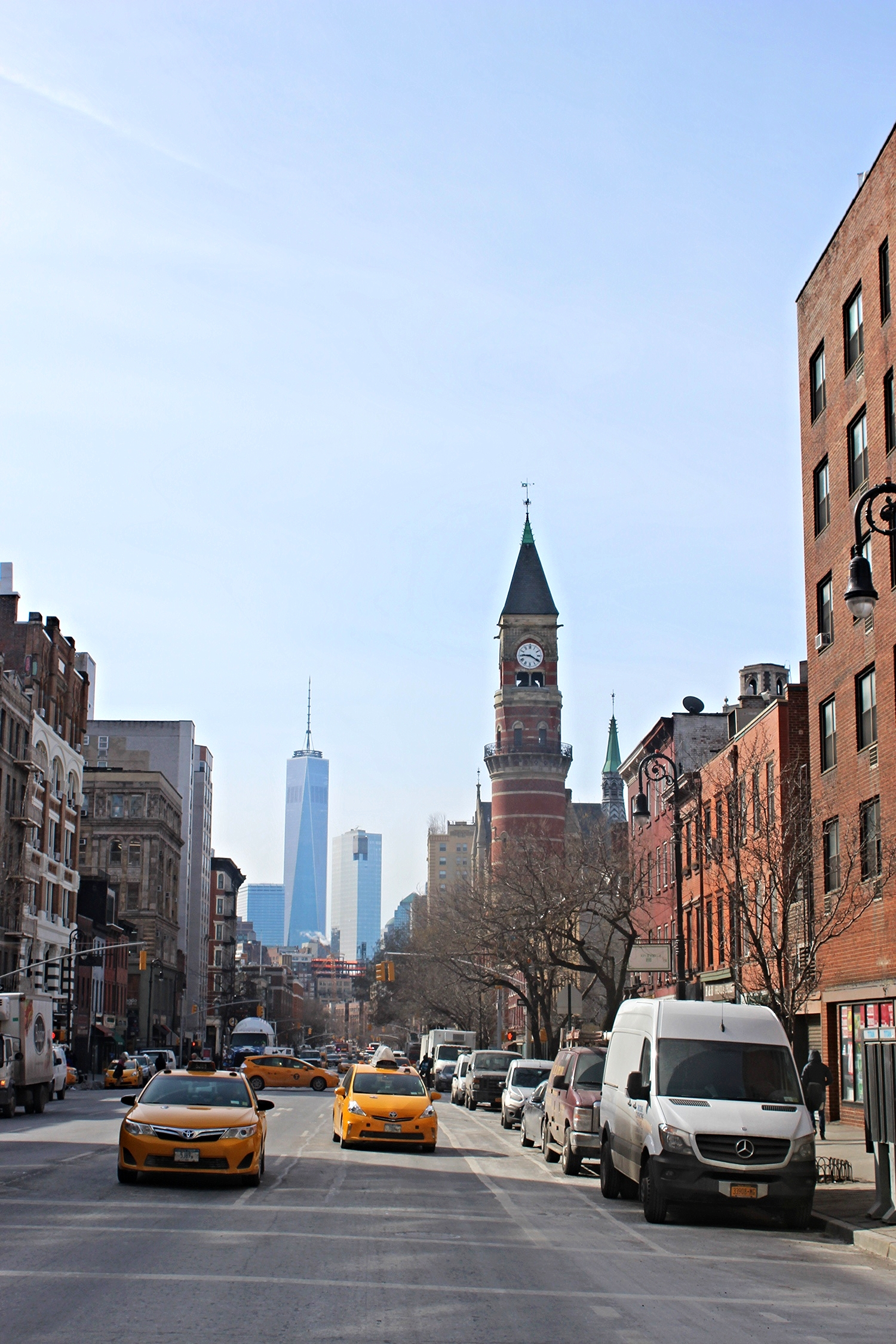 Sixth Avenue in Greenwich, met uitzicht op the Freedom Tower.