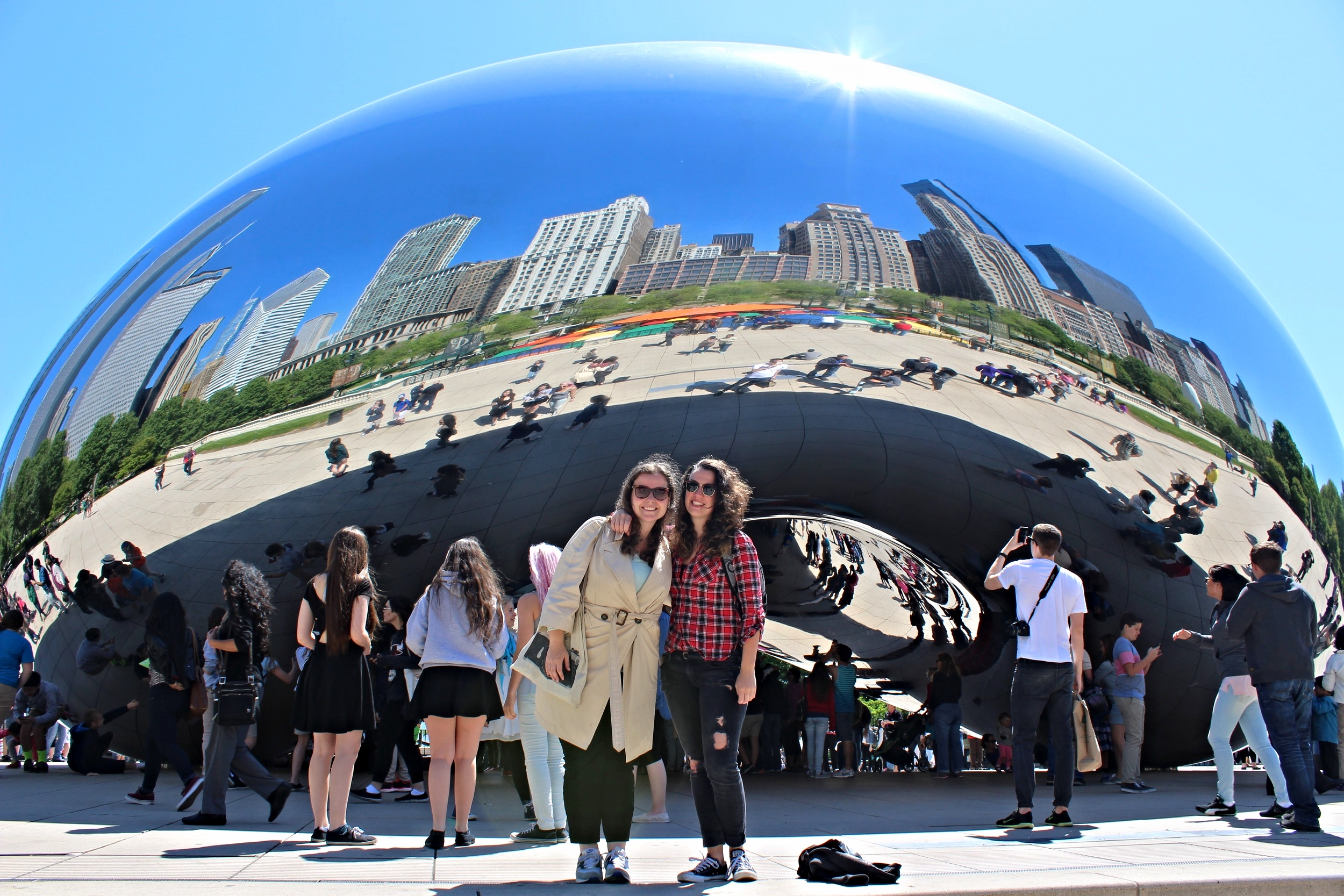 Two Dutch gals in front of the Bean!