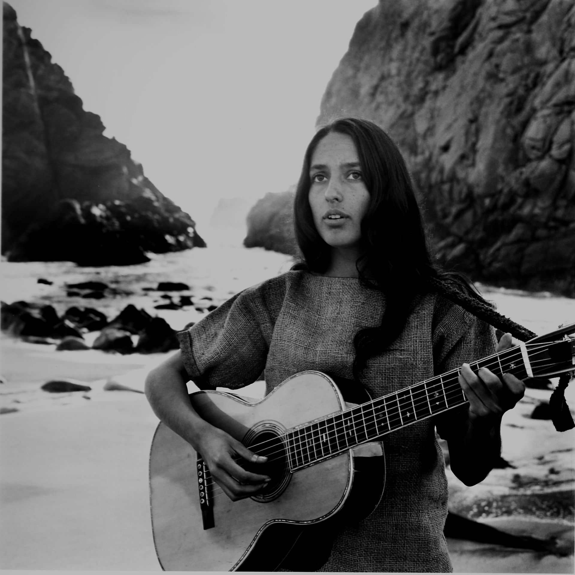 Joan Baez on the beach near her home, 1962 Photograph: Ralph Crane/The LIFE Picture Collection/Getty