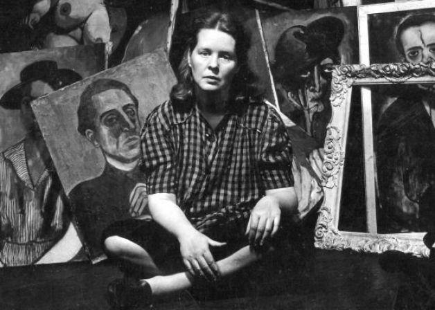 Alice Neel in her Harlem studio, 1944