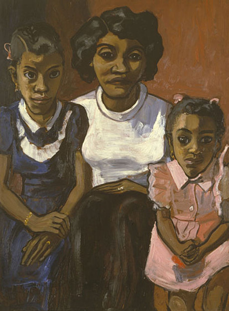 In Black Spanish family (1950), Neel endows a neighborhood family with extraordinary dignity, without romanticizing or patronizing them as they pose patiently for her in their Sunday best.