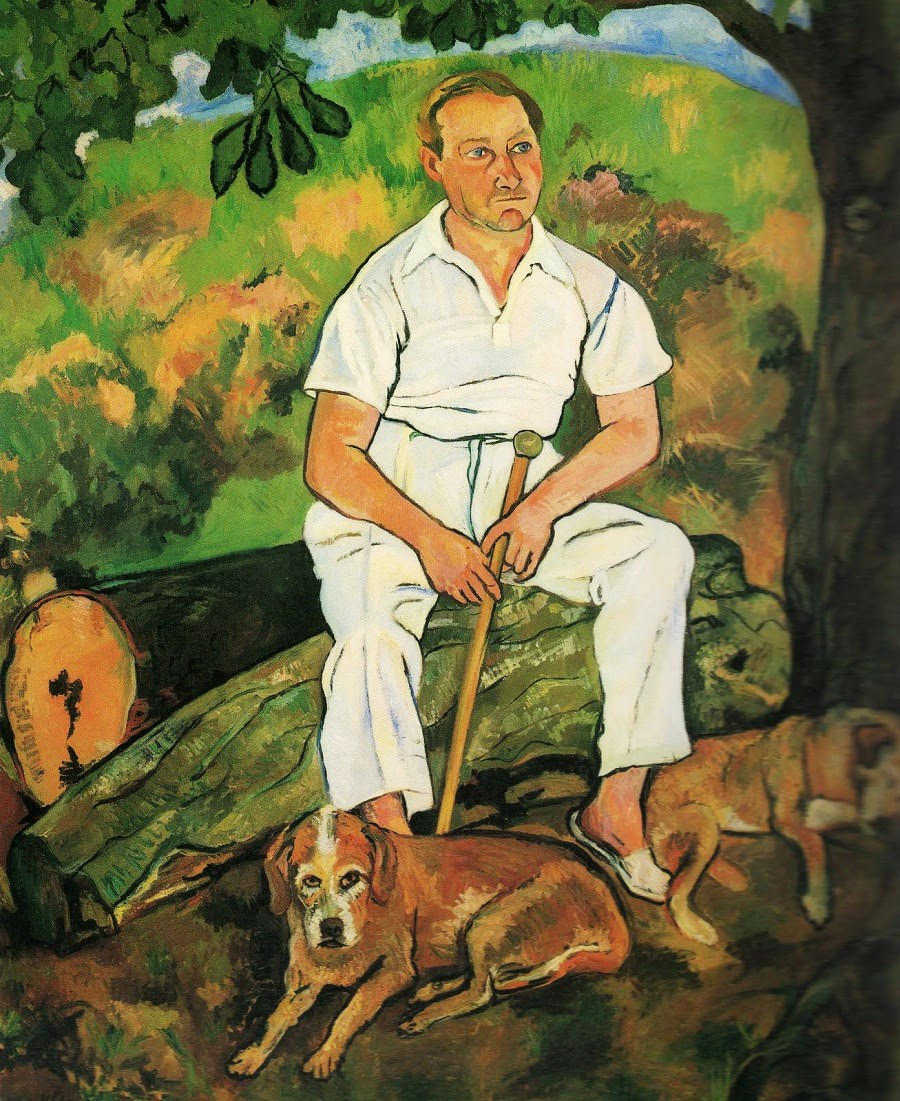 Andre Utter and his dogs.  Painting by Suzanne Valadon