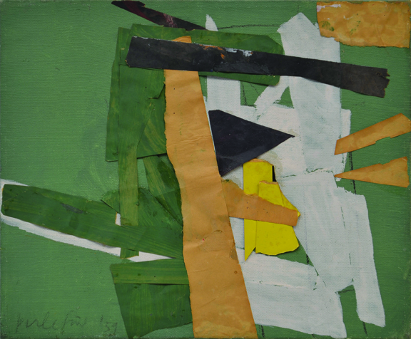 Little Green Collage with Painting, 1959 (oil and collage on canvas)