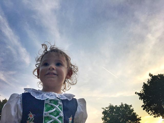 From Grandma Jeanne's last night in #Vienna. Zoe decided to madl it up in her #dirndl.