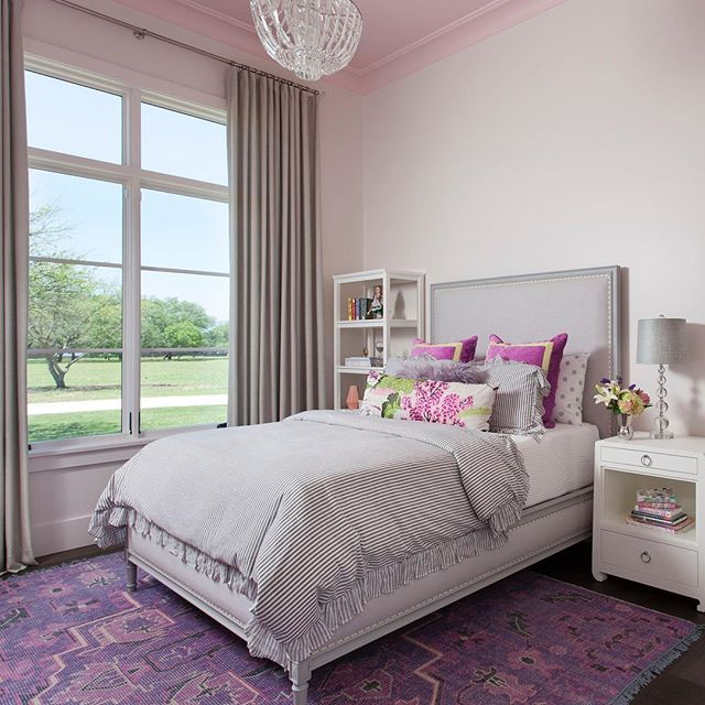 One of my most favorite bedrooms designed to date. What a sweet spot for this little girl.  #interiordesign #austin #hillcountryliving #pinkandpurple #sophisticated #interiors #nataliehowedesign @bungalow5 @potterybarn @thibaut_1886