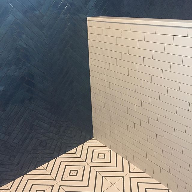 Sneak peek on site at my favorite Houston client's project. Master bathroom 🙌 thanks to @annsacks and a whole lotta good taste. #designinterior #interiordesign #tile #nataliehowedesign