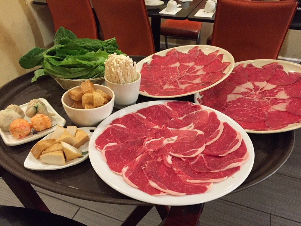 The choices range from sea food, veggies, dim sum and thin slices of your pick of meat.  (Yelp/Mike L.)