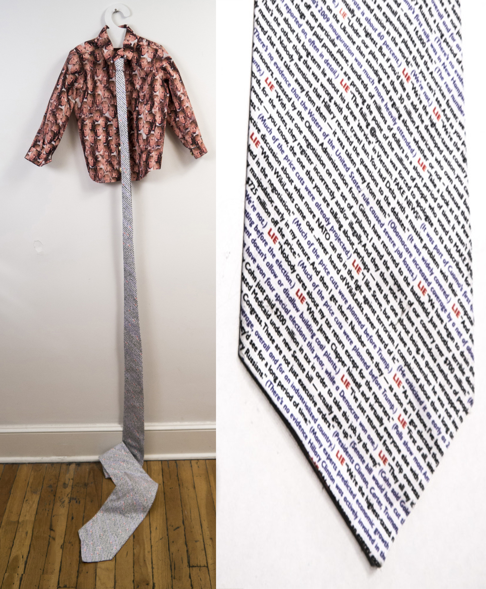 Liar's Couture  , is comprised of a toddler shirt sewn from digitally printed fabric with faces of the 45th President of the United States, and a hand sewn tie created with digitally printed fabric, that was printed with text of the lies of the president, beginning with his campaign in 2016 through December 2017. Created for the exhibition,  Disillusionment at Taller Boricua in New York City.  Disillusionment was conceptualized and developed by Robin Holder and Marina Gutierrez who then approached Taller Boricua to host the exhibition. More information about the show can be found  here