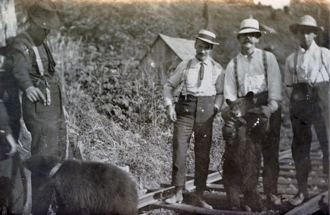 Novel for the time, melancholic today. Erik Andreas poses with orphan Black Bear cubs. (1903-05)