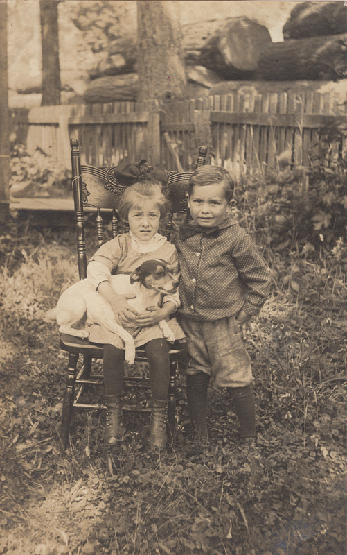 Evelyn Bennett and dog withHarold Martin