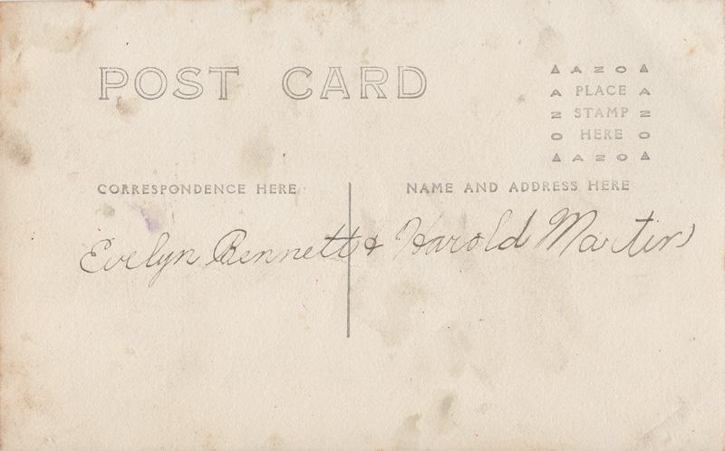 Backside of postcard with handwritten note; Evelyn Bennett & Harold Martin
