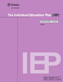 """Individual Education Plan (IEP): A Resource Guide (2004)   """"This guide is intended to help teachers and others working with students with special needs to develop, implement, and monitor high-quality IEPs. A five-step process is recommended. Suggestions and examples are provided, but IEPs, by their very nature, will be individualized on the basis of the particular requirements of the student."""""""