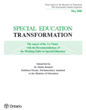 Special Education Transformation 2006   In a transformed system, special education programs and services would support a learning environment that enables students to acquire, demonstrate, and apply the knowledge and skills necessary to maximize their potential for success in school and beyond. Based on their individual learning needs and abilities, all students would receive supports in schools that foster a culture of commitment to achievement.