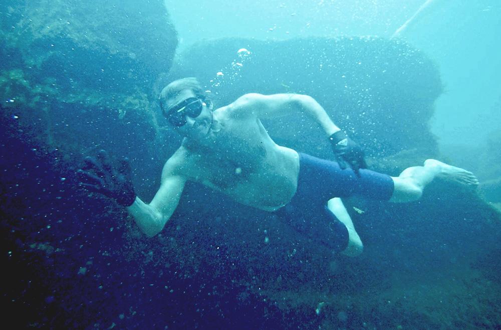Enjoying the underwater world at Barton Springs!
