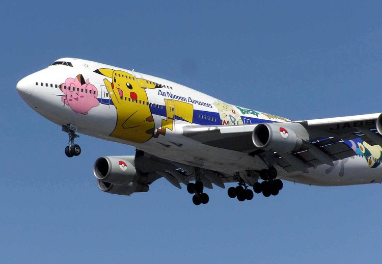 An All Nippon Airways 747 adorned with Pokemon characters