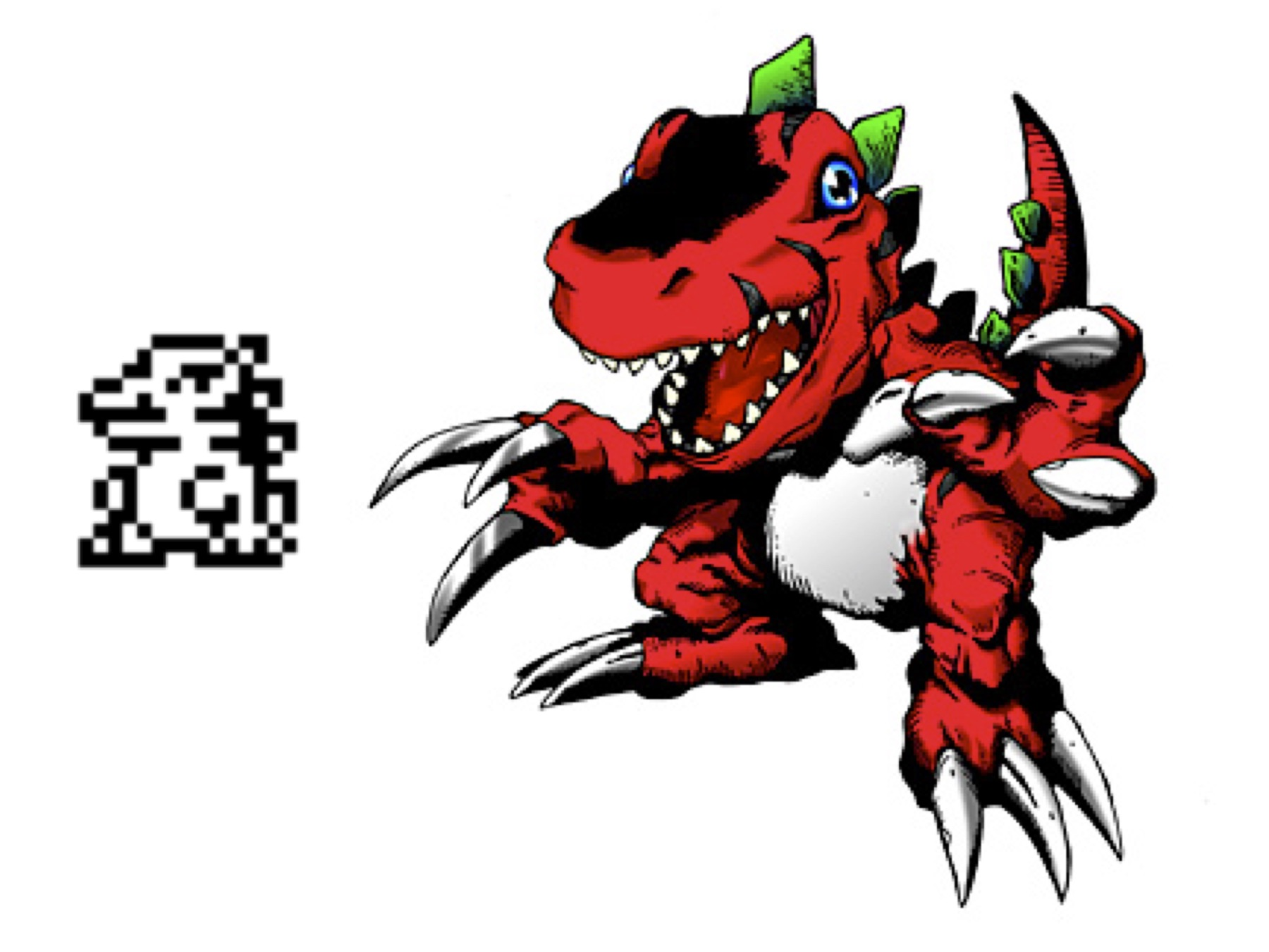 Tyrannomon, the first Digimon,  in his original pixel and trading card forms