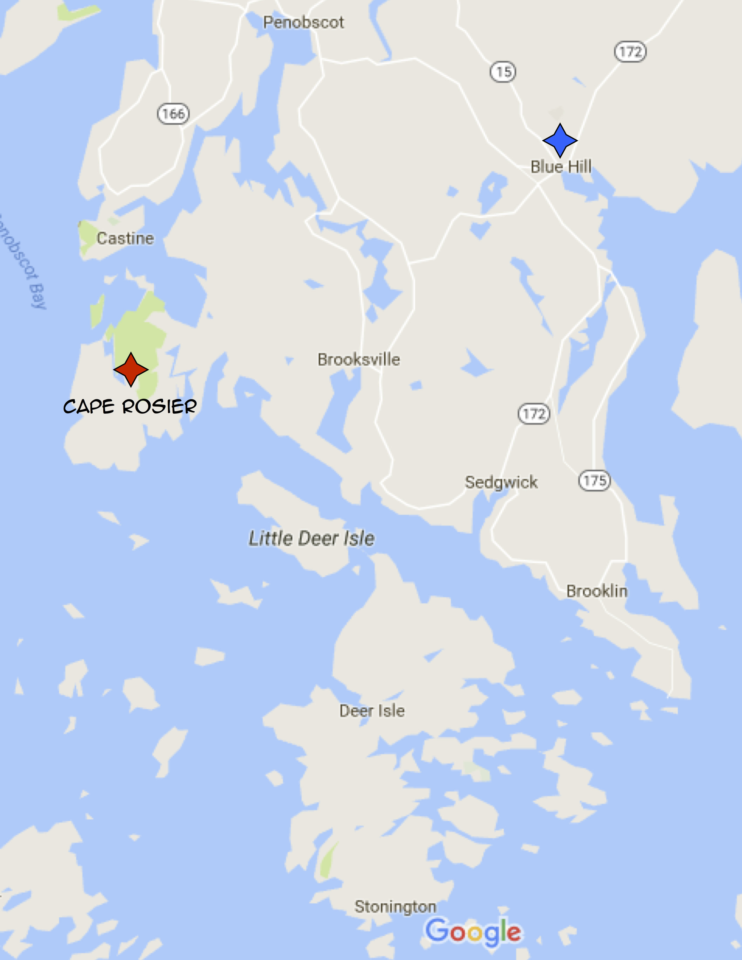 Sargentville is technically part of Sedgwick, and therefore isn't on google. You also can't quite tell, but to get from my house to Penobscot, Brooklin, Deer Isle, and Blue Hill you drive through Sedgwick, it's a really weirdly shaped town.