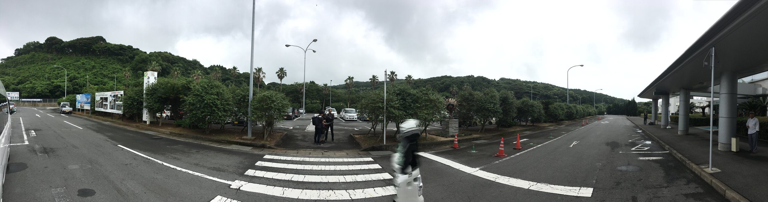 I took this panoramic at the airport. A car drove by while I was taking it, making it look like there's a stormtrooper ghost walking by.