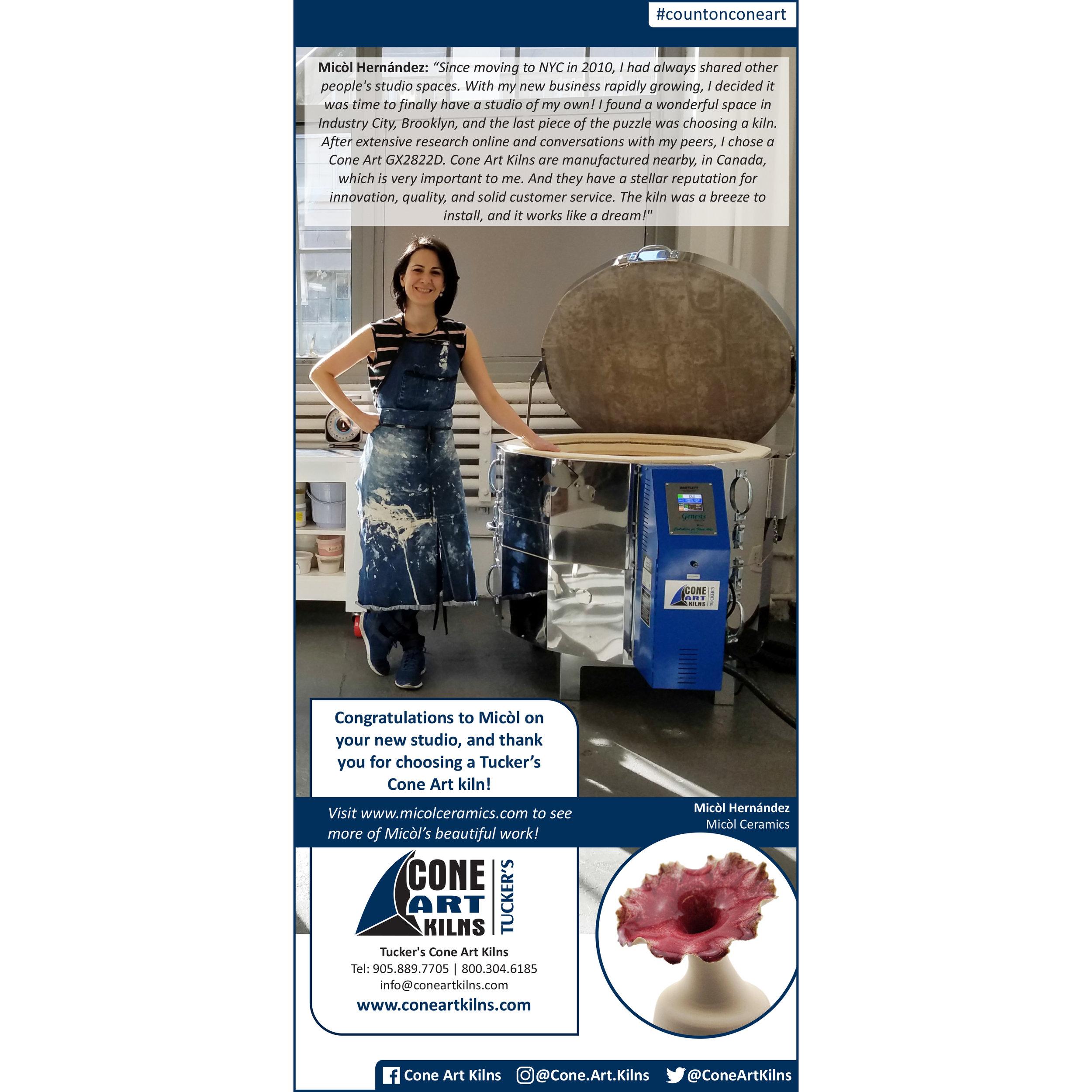 Cone Art Kilns Advertisement, 2018/2019