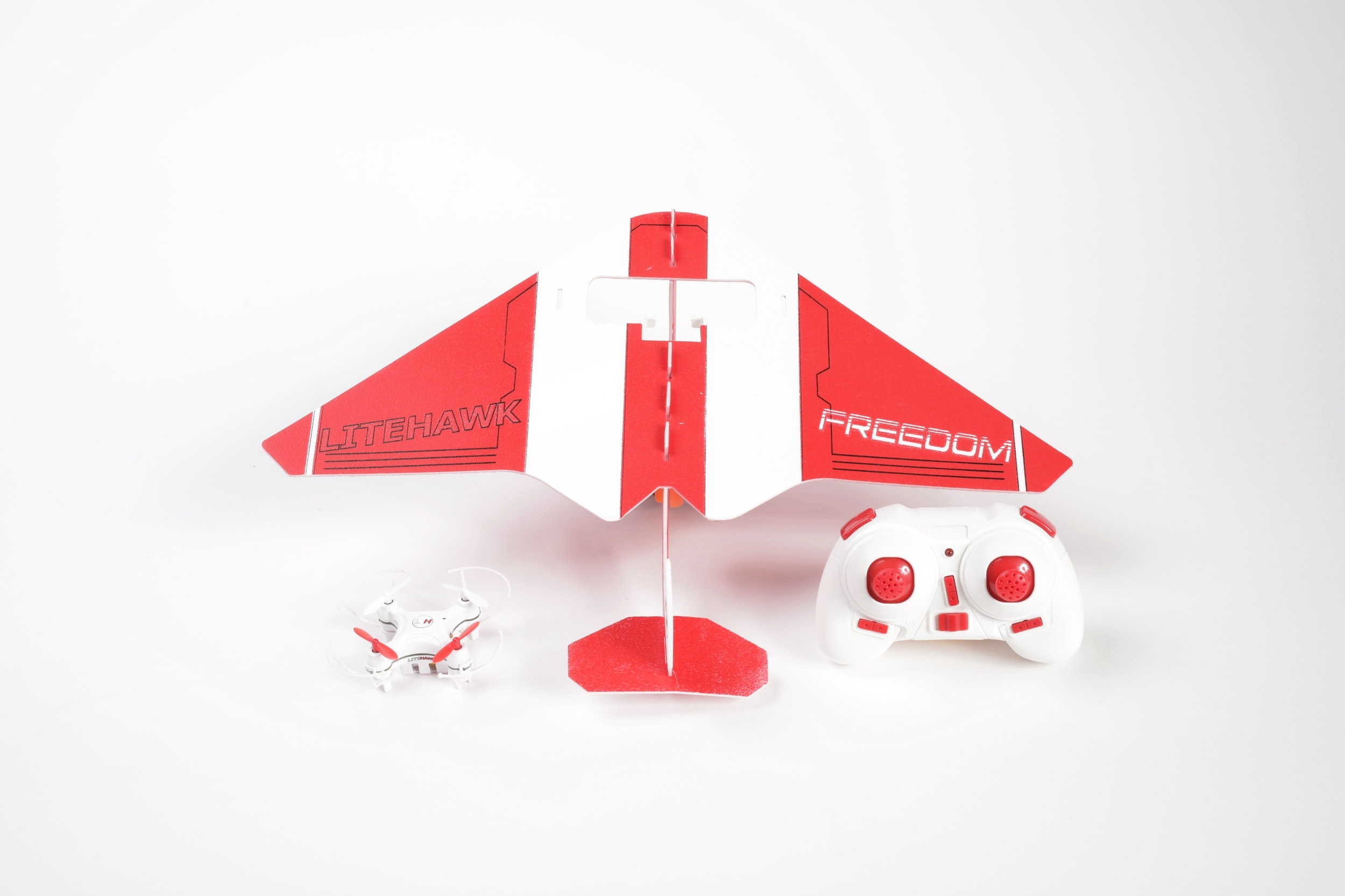 All Inclusive and Ready to Run! - The LiteHawk Freedom comes with everything you need to enjoy full flight in both drone and plane format. Drone, remote, plane wings, charging peripherals, and instruction manual included!