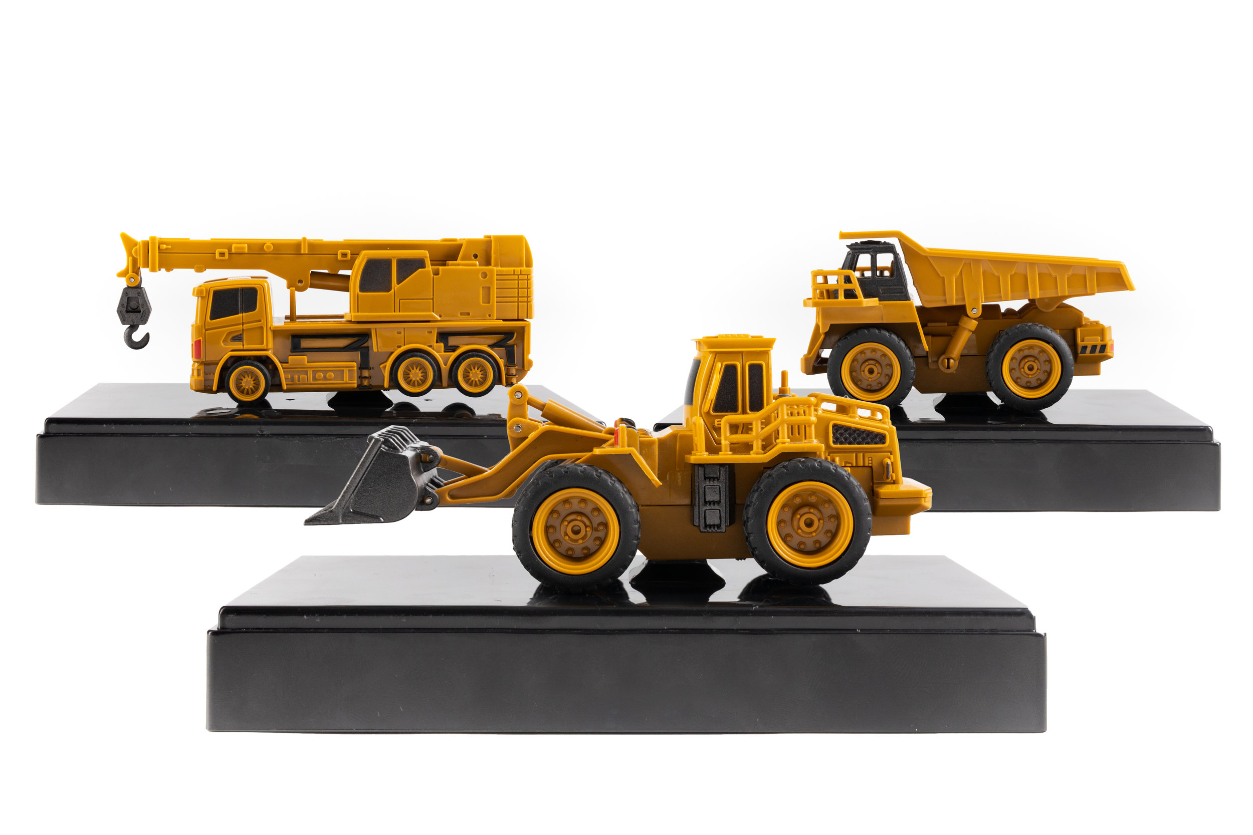 Included Display Stand - Each Wee Construction Vehicle comes with a display stand and protective plastic case! Remote can be conveniently stored under the display stand.