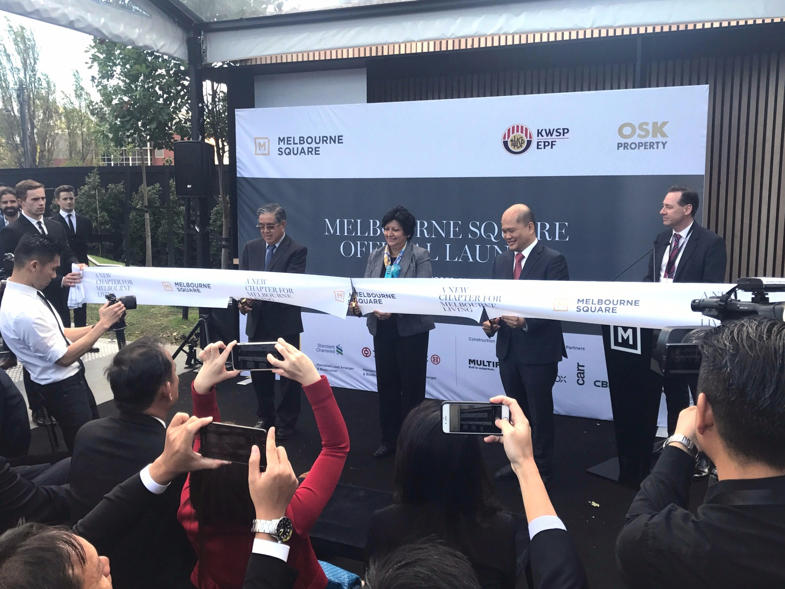 The cutting of the ribbon.
