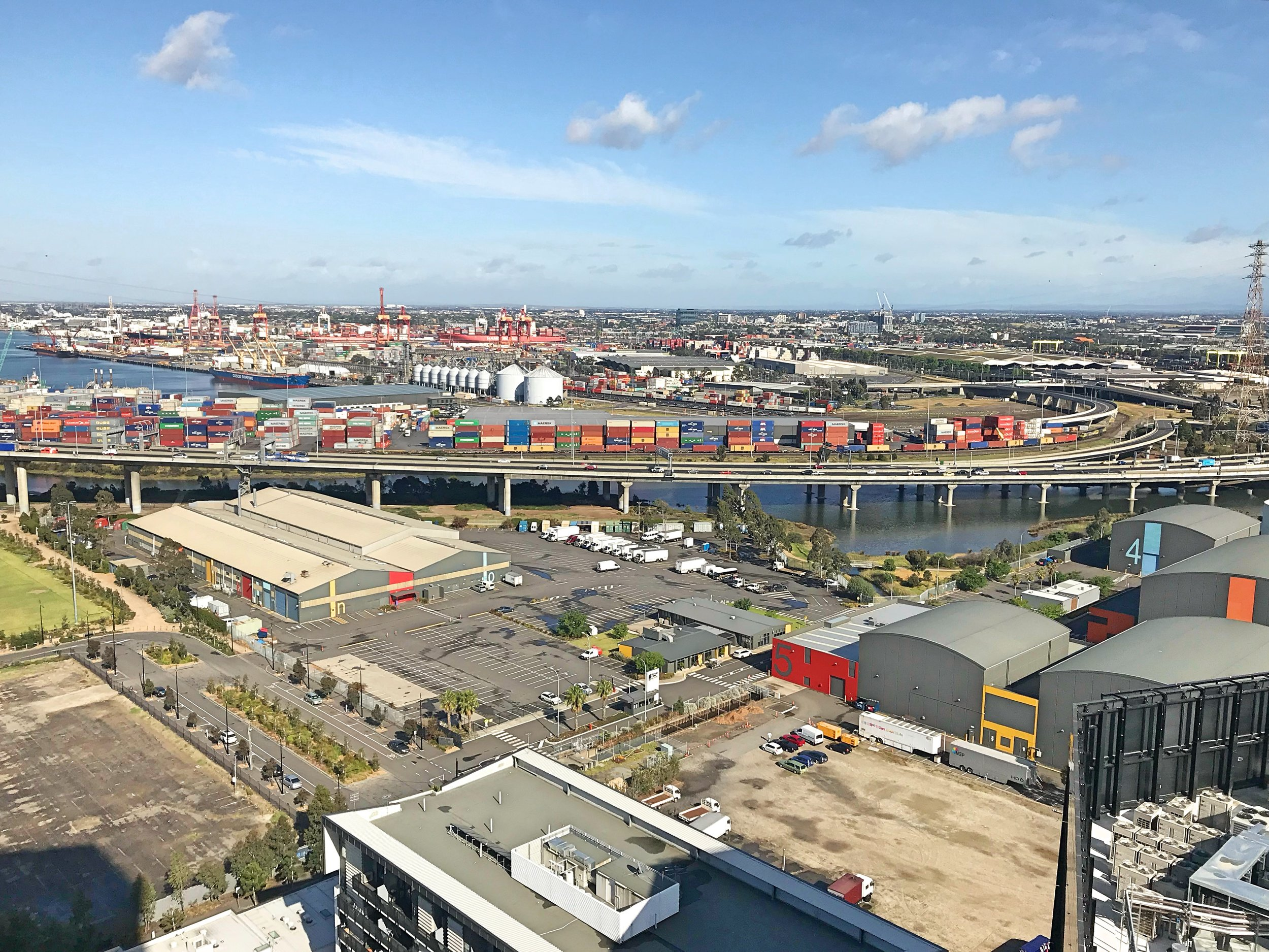 Views over the docks to Melbourne's western suburbs from Marina Tower.