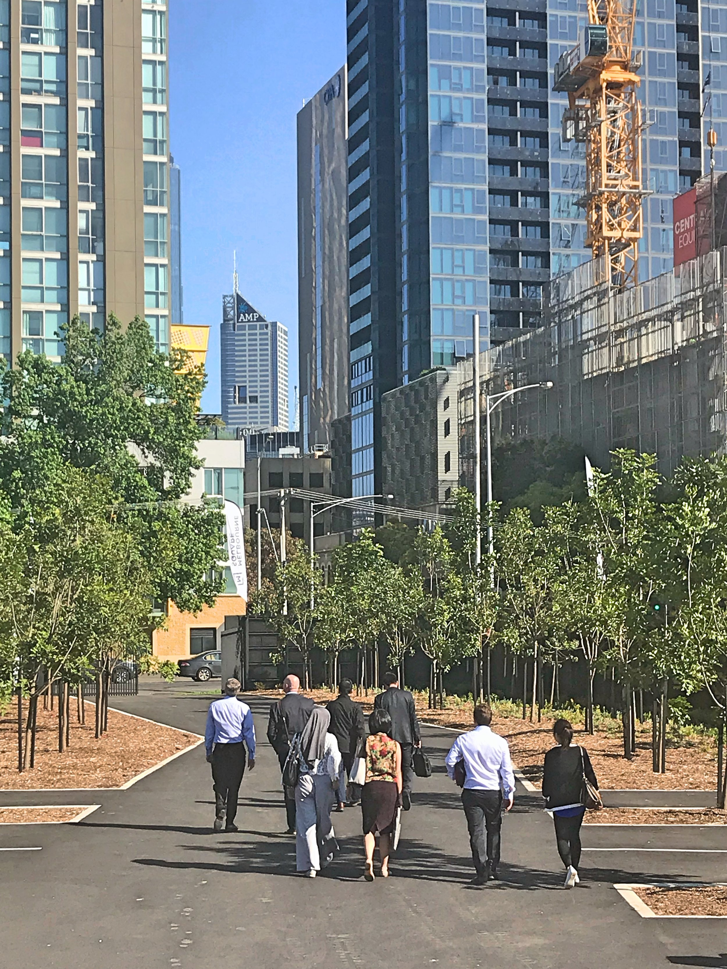 Sinclair Brook staff leave the Melbourne Square display suite after an informative presentation by Project Manager, Andrew Mantzounis.