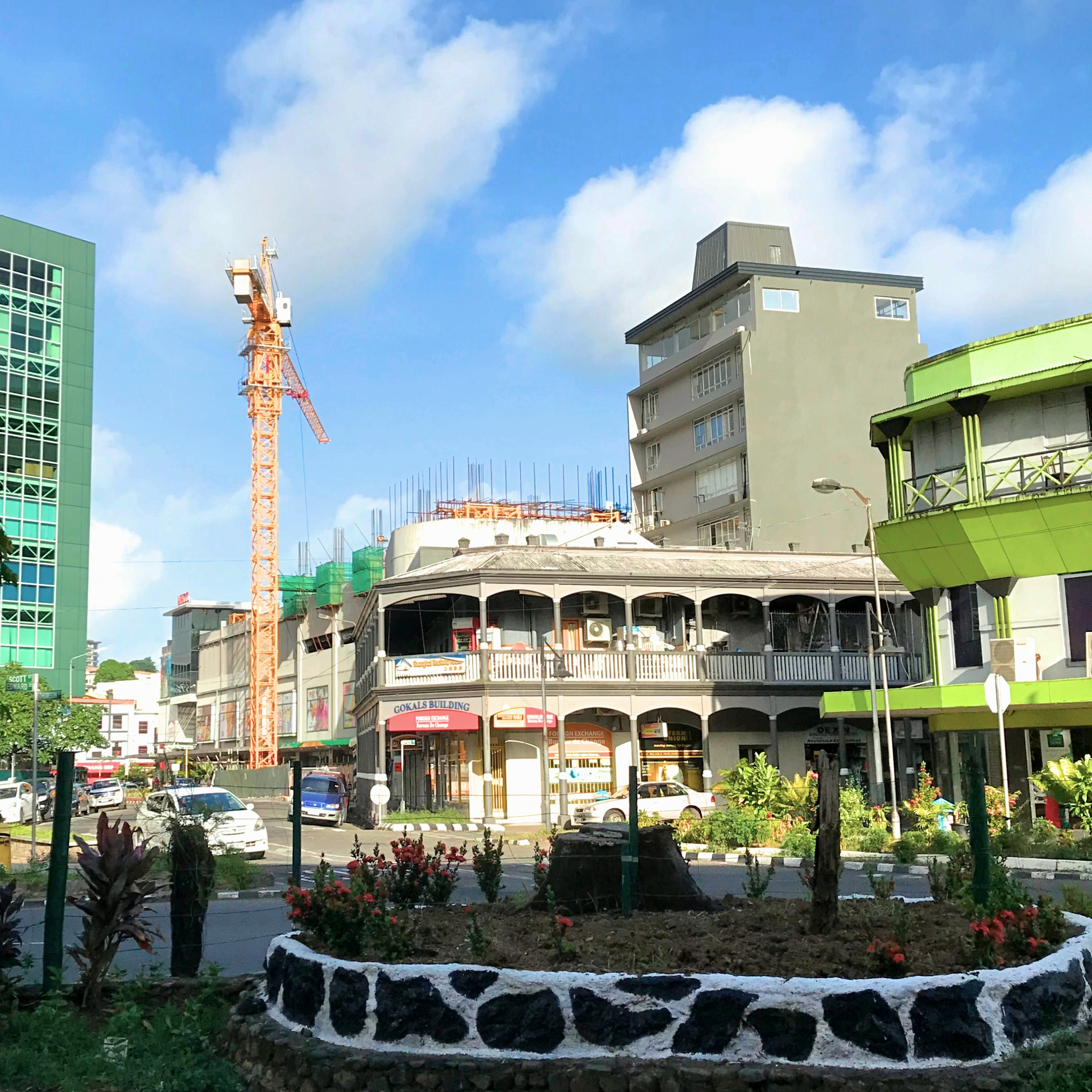 The crane is up at the MHCC Shopping Centre in Suva, Fiji, ready for construction of the new Carpenters Tower.