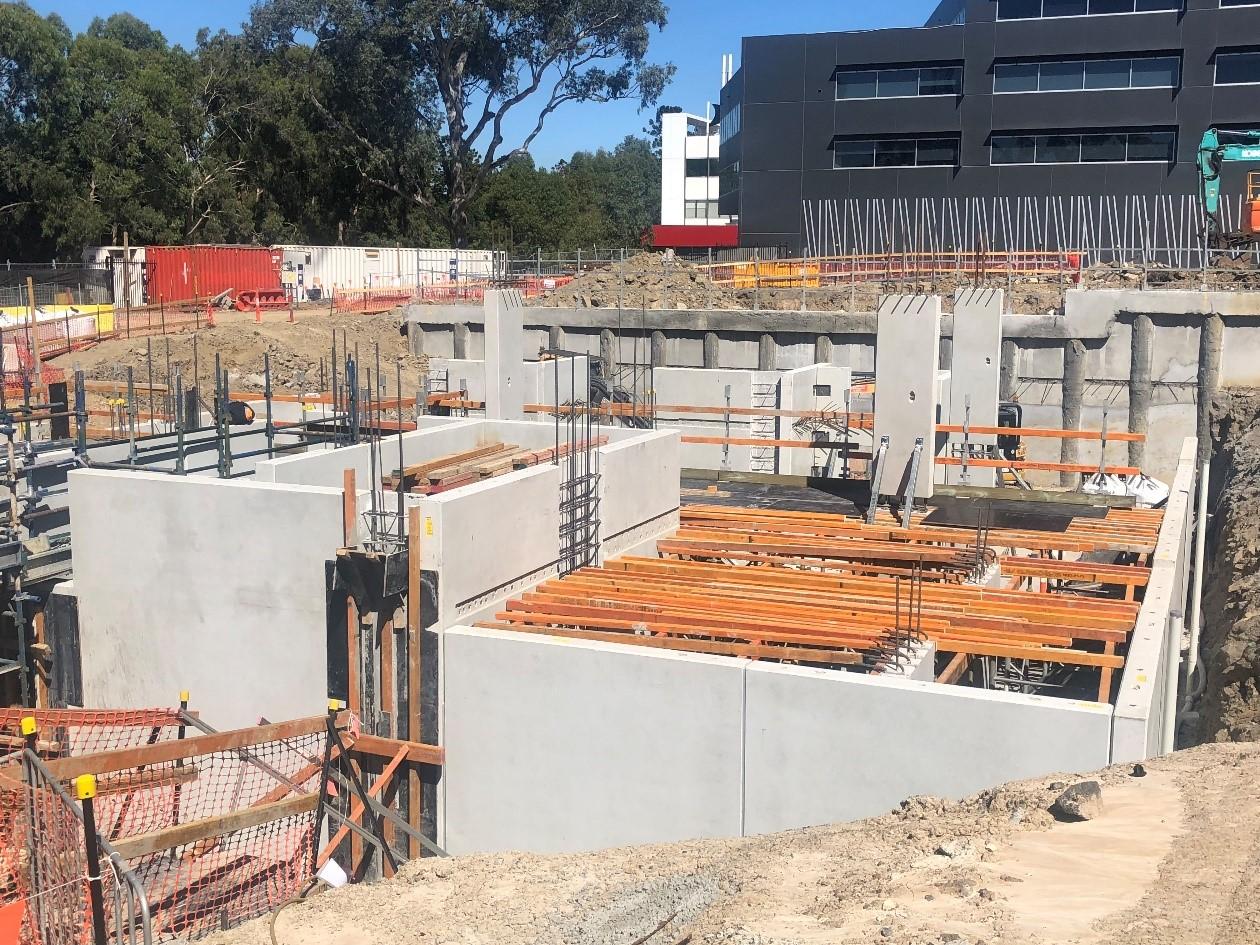 Core 2 panels installed & lower ground formworks underway.