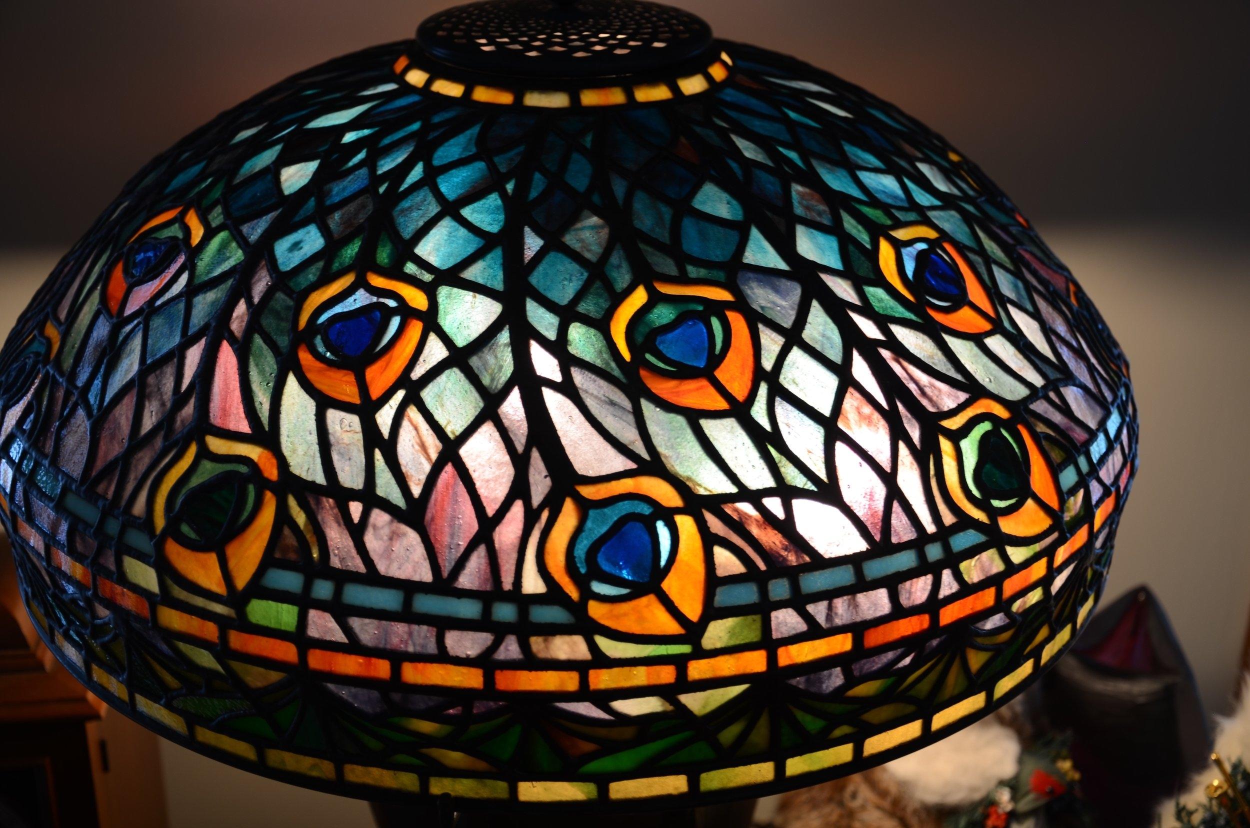 "Exact Reproduction of Tiffany's 18"" Peacock Lamp"