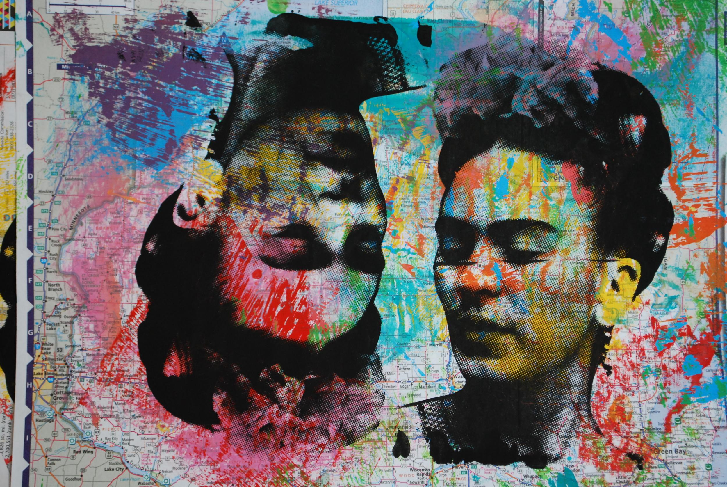 Frida Mapa Chiquito 2. 15.5 x 10.5 in Sold / Vendido