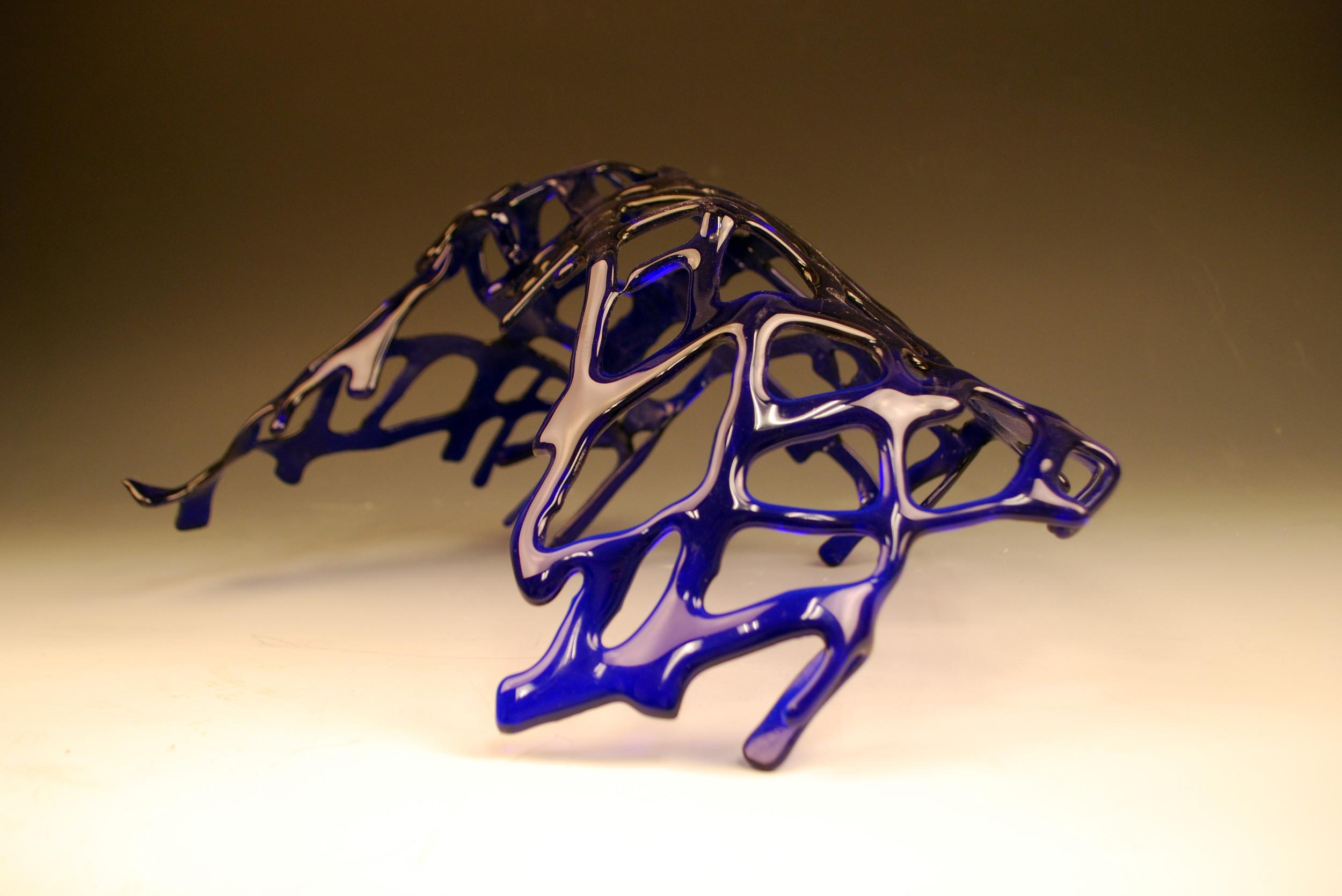 "Fusion Azul.16"" x 9"" x 16"" Sold / Vendida"