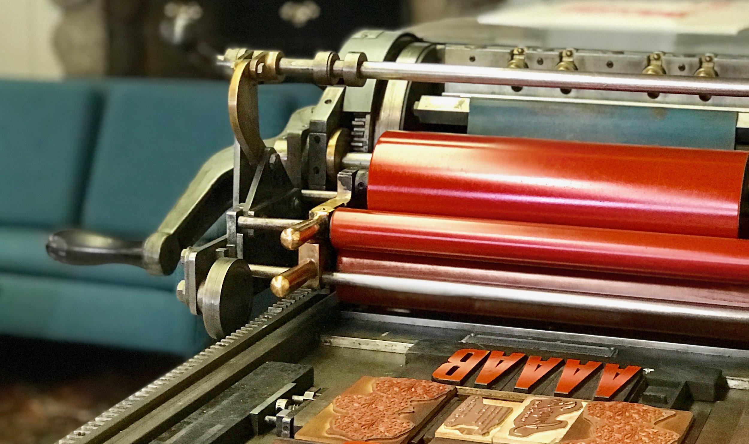 vandercook chain press letterpress studio