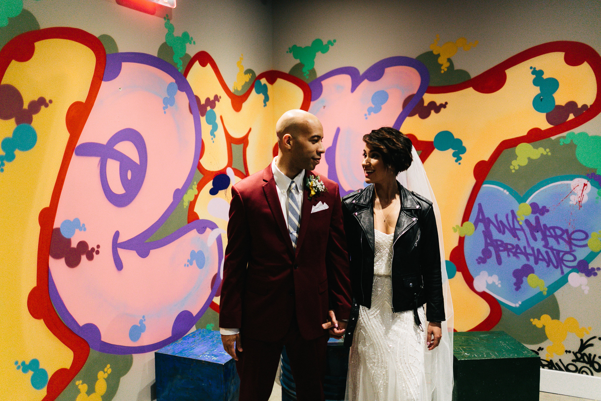 Liz and adam's movie-themed museum wedding in astoria, NY