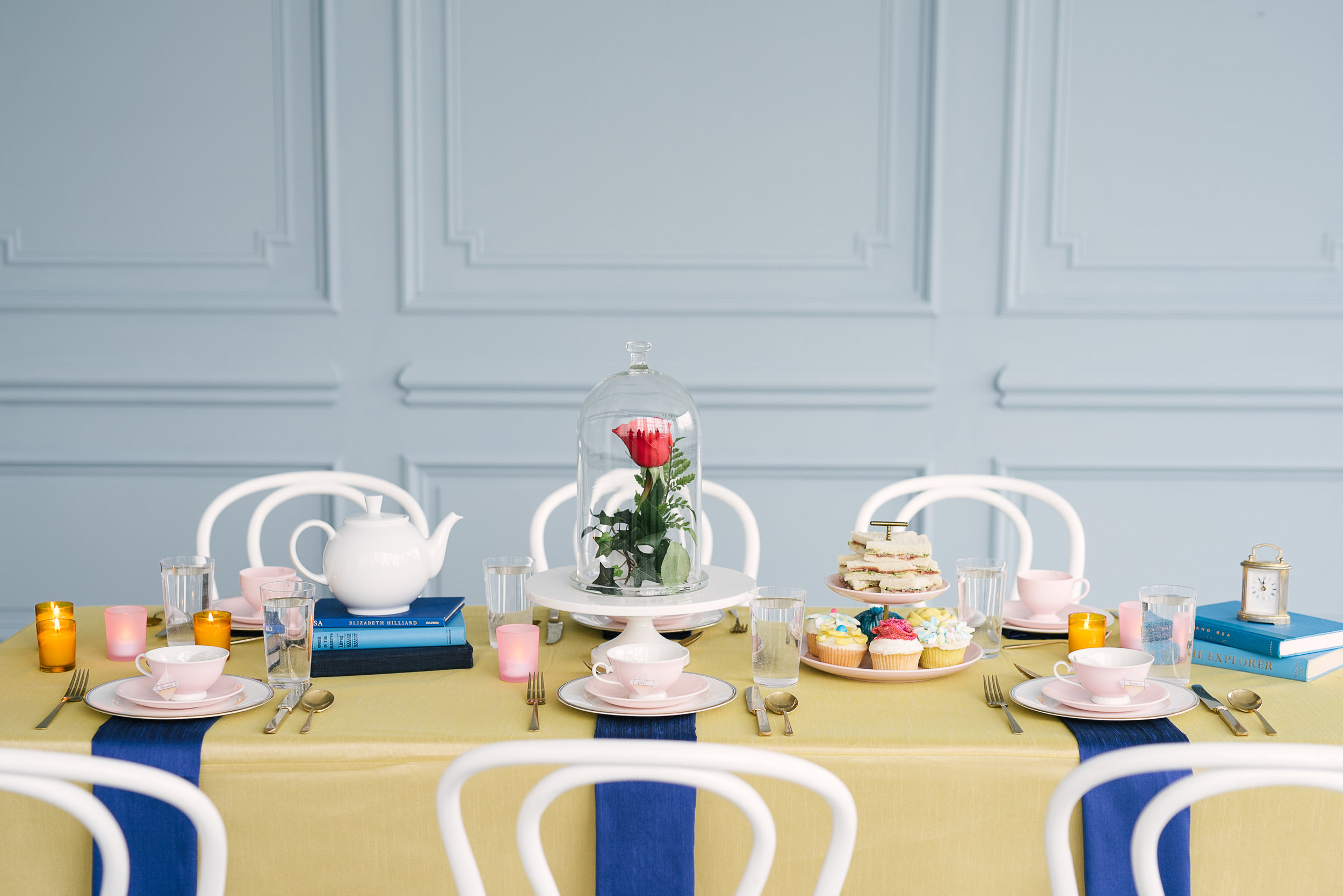 martha stewart - beauty and the beast-inspired baby shower
