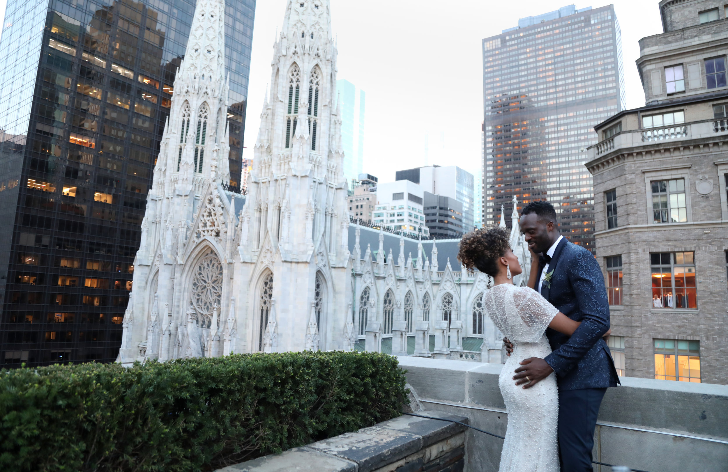 Samantha and Demetrius' glam manhattan wedding at 620 Loft & garden