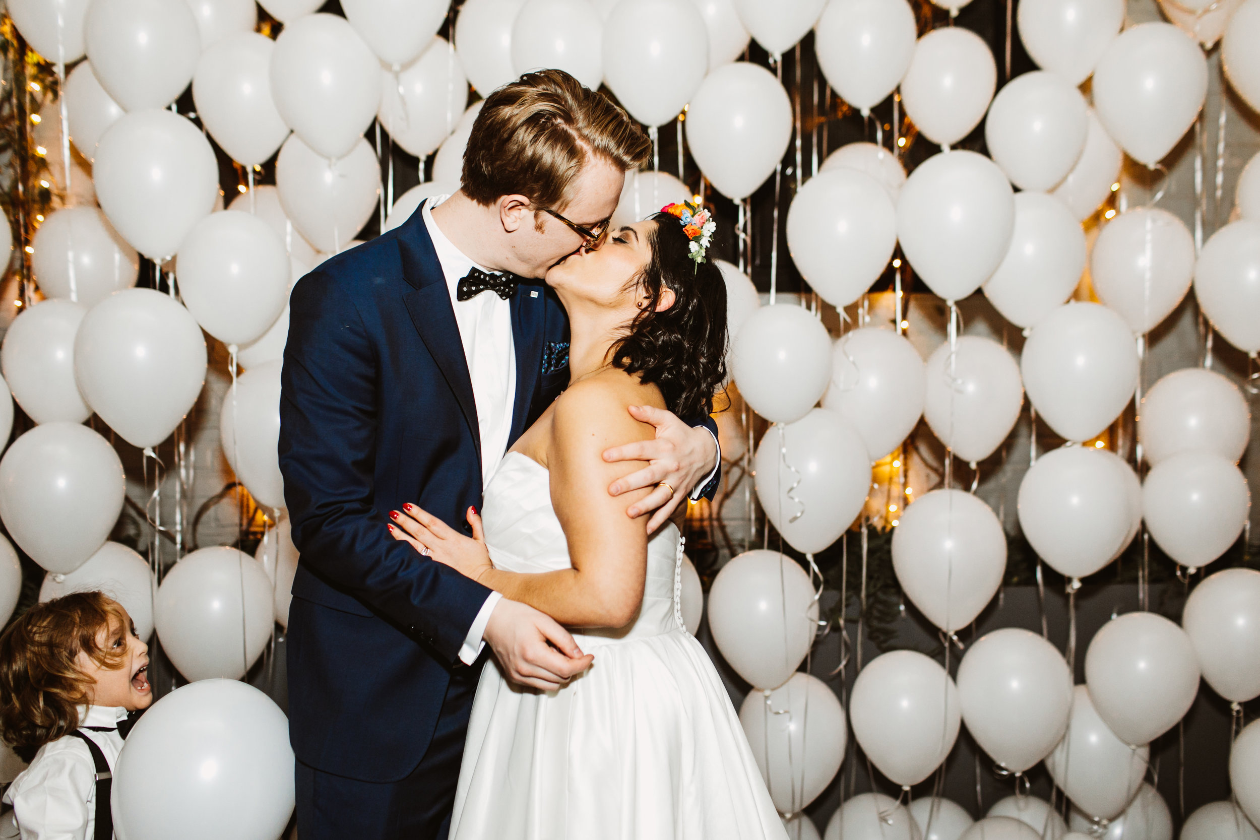 Tiffany and Graham's vibrant winter wedding at 501 union in brooklyn