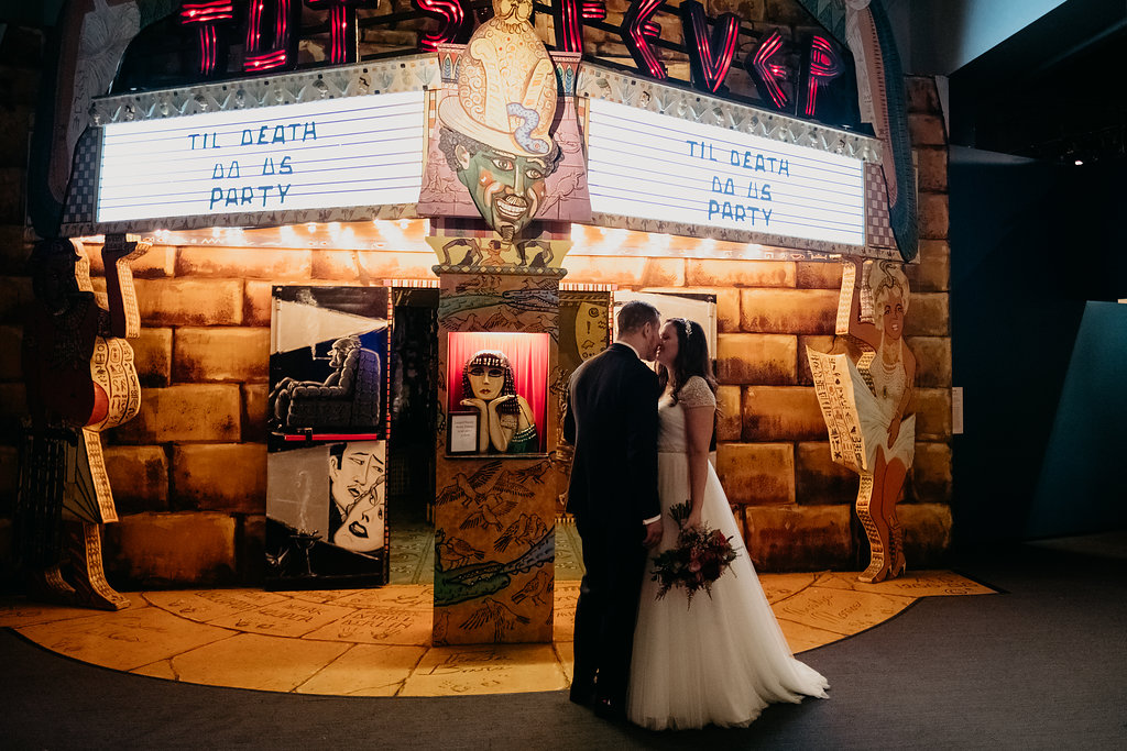 Sandra & dave's quirky wedding at the museum of the moving image