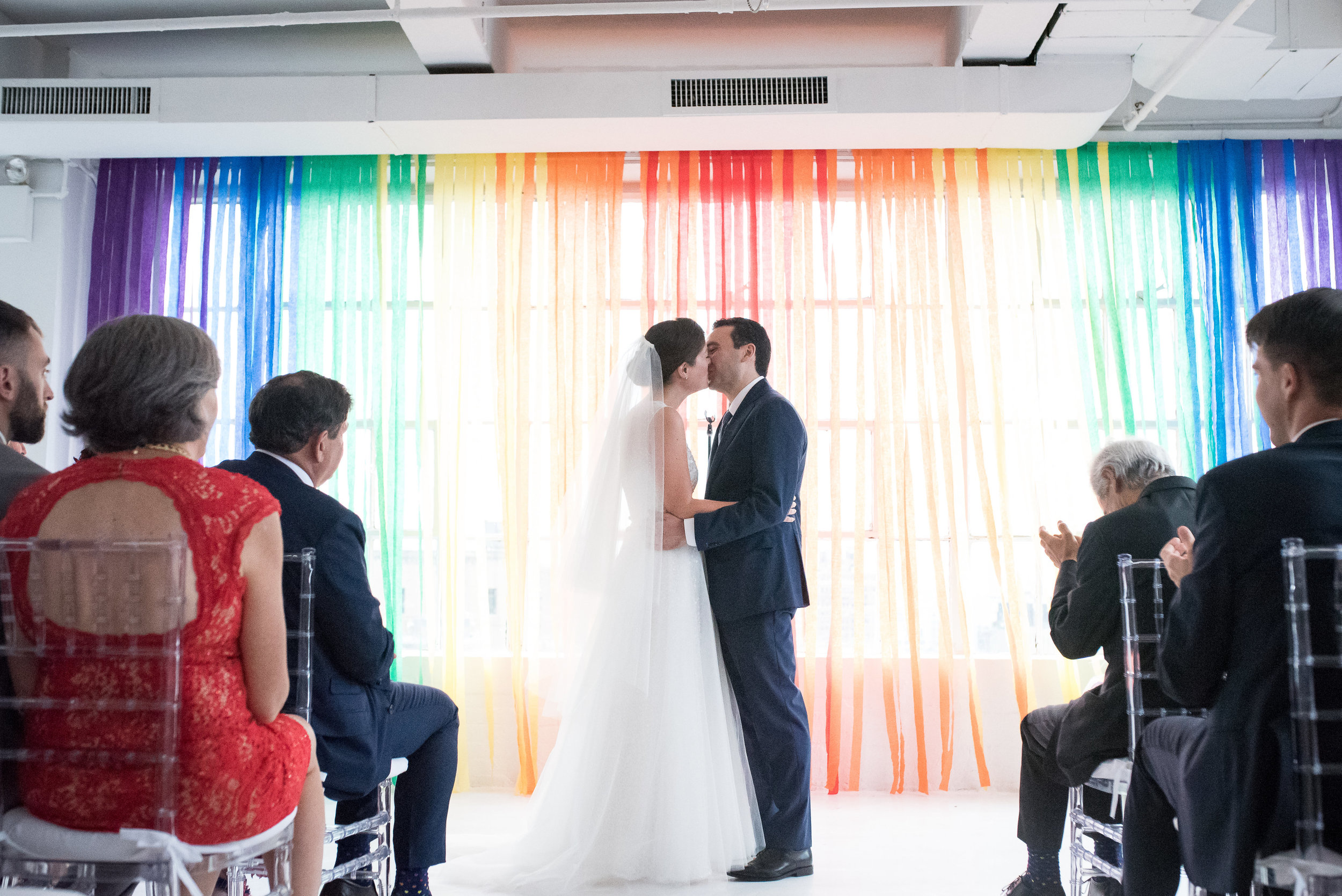 Alissa & francesco's rainbow splashed NYC Wedding in manhattan
