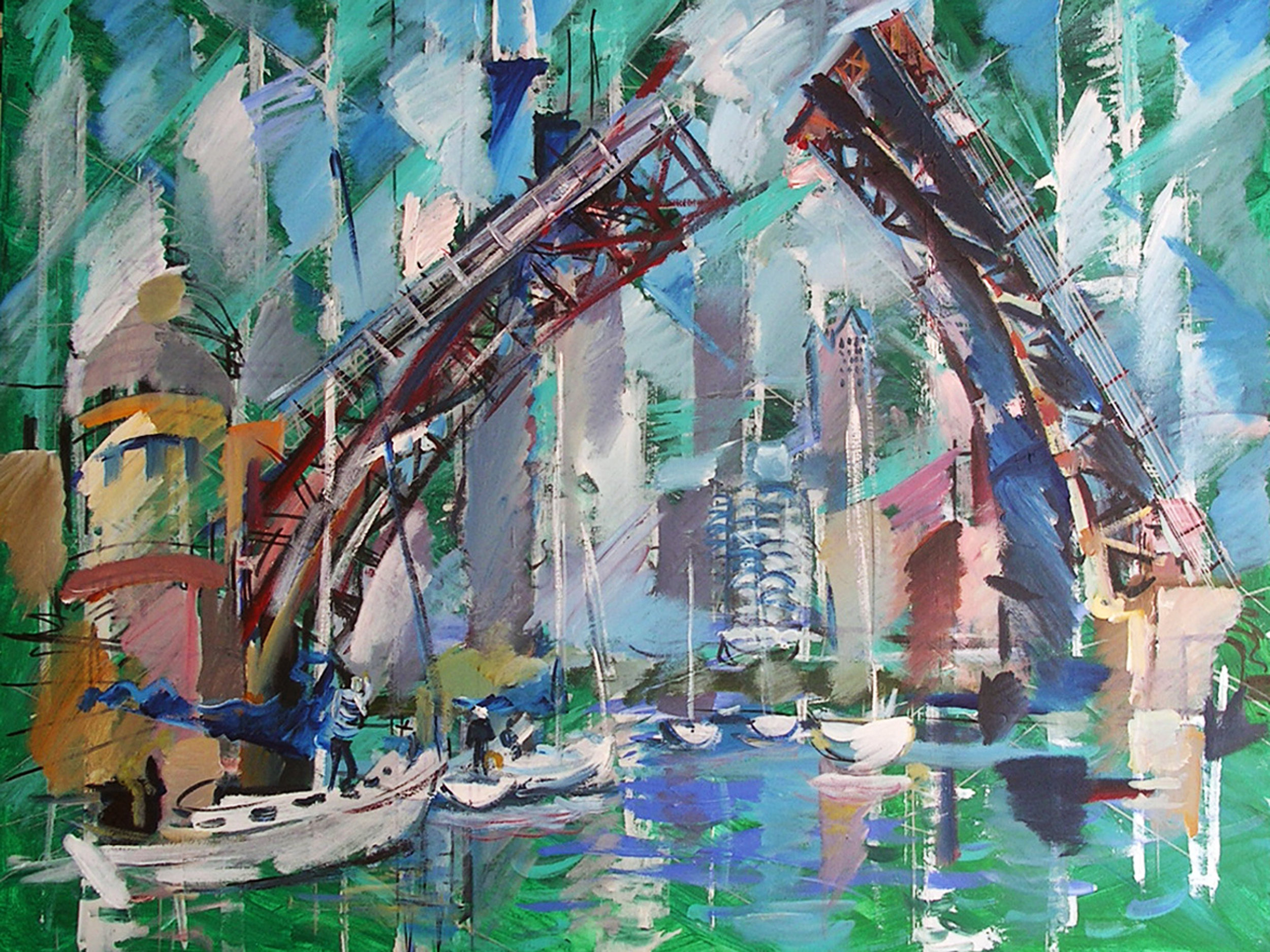 Leonid Osseny. Open Bridge on South Chicago River 2014.  Acriylic on canvas, 30x40.jpg