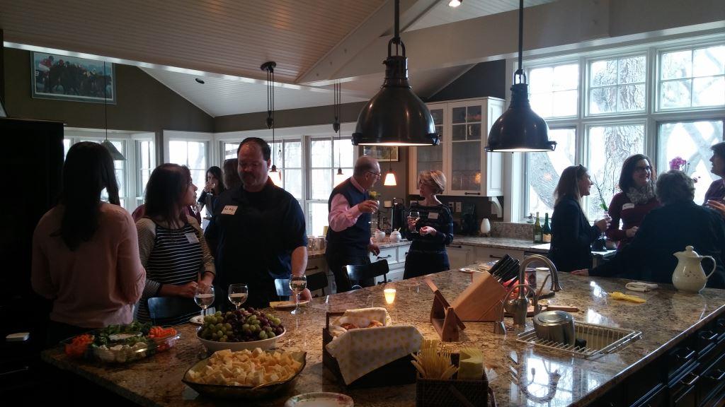 AFO members and guests enjoying Margaret Block's wonderful home.