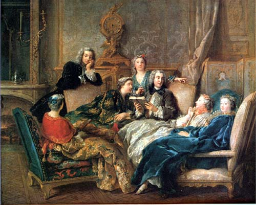 A reading of Molière, Jean François de Troy, about 1728.