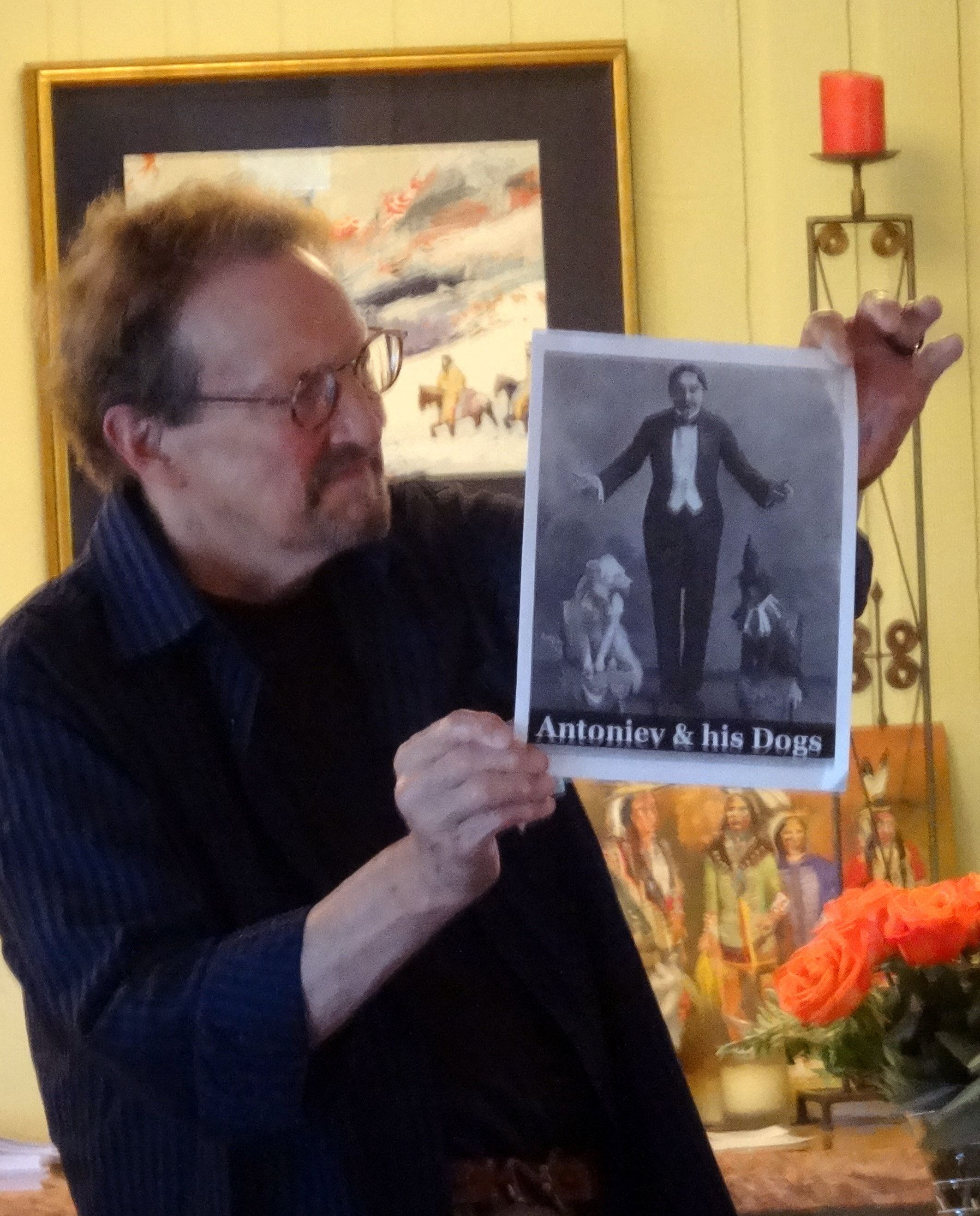 Dennis Collins assisted by showing images of the characters in Colette's 1910 novel  La Vagabonde.